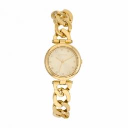 Montre femme, boîte acier doré et cristaux de synthèse, bracelet en acier doré et verre minéral