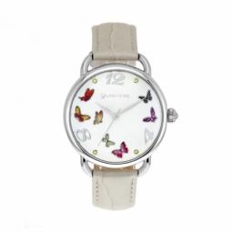 Montre femme, boîte en acier et cristaux de synthèse, bracelet cuir et verre minéral