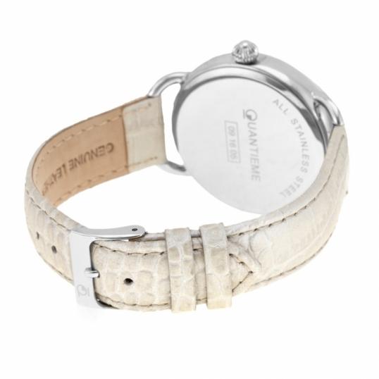 montre femme bracelet cuir cadran argent