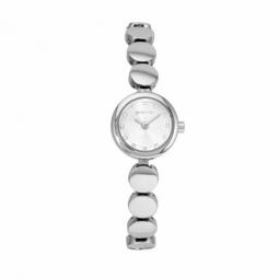 Montre femme, boîte acier et cristaux de synthèse, bracelet acier et verre minéral