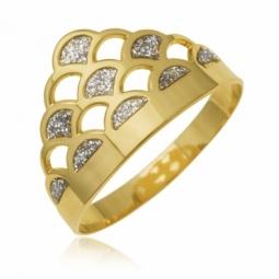 Bague en or jaune et laque pailletée