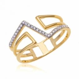 Bague en or jaune et rhodié et diamants