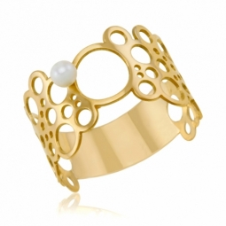 Bague en or jaune et perle de culture