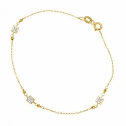 Bracelet en or jaune et oxydes de zirconium, boules diamantées