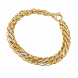 Bracelet en deux ors et oxydes de zirconium