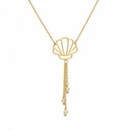 Collier en or jaune et perles de culture, coquillage