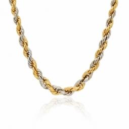 Collier en or jaune et rhodié, maille corde