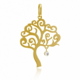 Pendentif en or jaune et oxyde de zirconium, arbre de vie