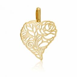 Pendentif en or jaune, coeur et rose