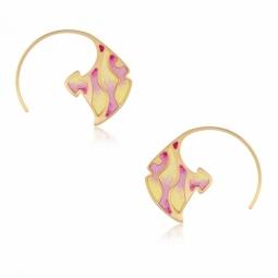 Boucles d'oreilles en or jaune et laque, poisson