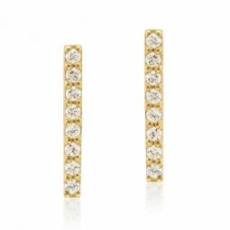 Boucles d'oreilles en or jaune et oxydes de zirconium, barrette