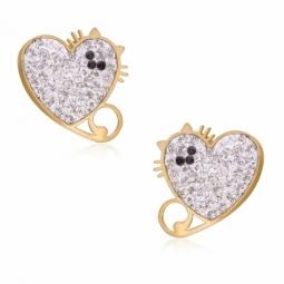 Boucles d'oreilles en or jaune, cristaux de synthèse et résine, chat