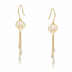 Boucles d'oreilles en or jaune et perles de culture, coquillage