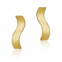 Boucles d'oreille en or jaune, vague