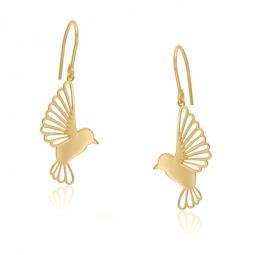 Boucles d'oreilles en or jaune, colibri