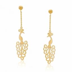 Boucles d'oreilles en or jaune, paon