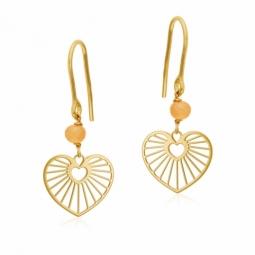 Boucles d'oreilles en or jaune et pierre de lune, coeur