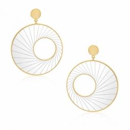 Boucles d'oreilles en or jaune et plexiglass gravé