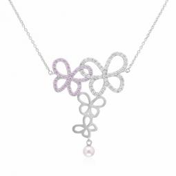 Collier en argent rhodié, oxydes de zirconium et perle de culture