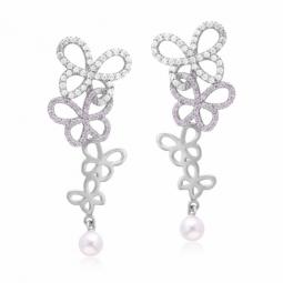 Boucles d'oreilles en argent rhodié, oxydes de zirconium et perle de culture