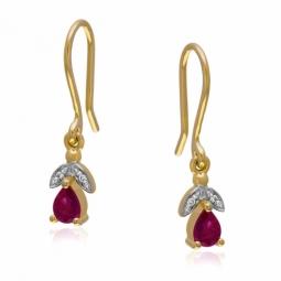 Boucles en or jaune rhodié, rubis et diamants