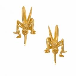 Boucles d'oreilles en or jaune, moustique