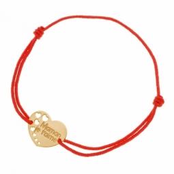 Bracelet en or jaune et cordon, maman je t'aime