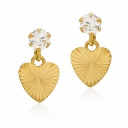 Boucles d'oreilles en or jaune et oxyde de zirconium, coeur