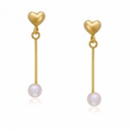 Boucles d'oreilles en or jaune et perle de culture