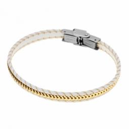 Bracelet en acier, simili cuir et paillettes