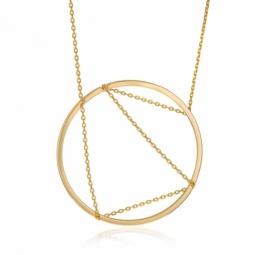 Collier en plaqué or, cercle et fils