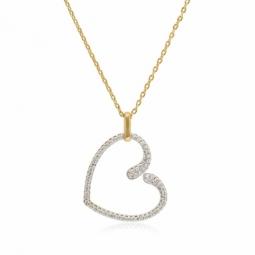 Collier en plaqué or et rhodié, oxydes de zirconium, coeur