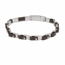 Bracelet en acier et simili cuir