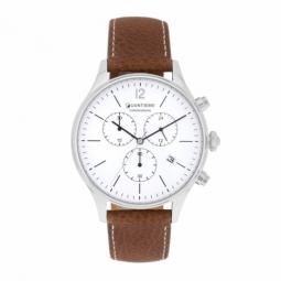 Chronographe homme, boîte en acier, bracelet cuir et verre minéral