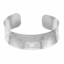 Bracelet jonc en argent rhodié, gémeaux