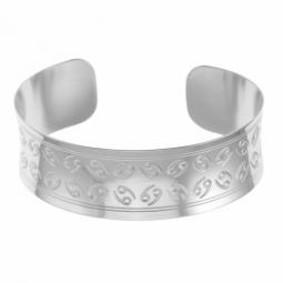 Bracelet jonc en argent rhodié, cancer