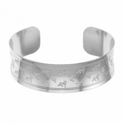 Bracelet jonc en argent rhodié, capricorne
