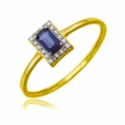Bague en or jaune rhodié, saphir et diamants