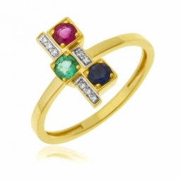 Bague en or jaune rhodié, saphir, rubis, emeraude et diamants