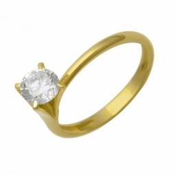 Bague en or jaune et oxyde de zirconium