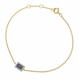 Bracelet en or jaune rhodié, saphir et diamants