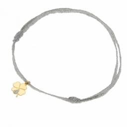 Bracelet ruban or jaune et laque pailletée,trèfle