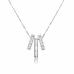 Collier en or gris et diamants ronds et baguettes