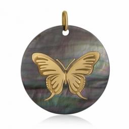 Pendentif en or jaune et nacre, papillon