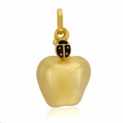 Pendentif en or jaune et coccinelle laque