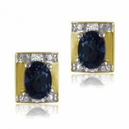 Boucles d'oreilles en or jaune rhodié, saphir et diamants