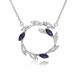 Collier en argent rhodié,  oxydes de zirconium bleus et blancs