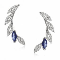 Boucles d'oreilles en argent rhodié, oxydes de zirconium bleus et blancs