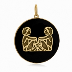 Pendentif or jaune et onyx, signe gémeaux