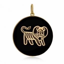 Pendentif or jaune et onyx, signe lion